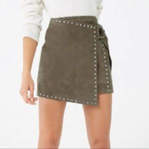 Forever 21   olive studded real suede midi skirt